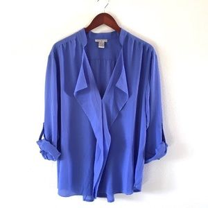Alberto Makali Blue/Purple Waterfall Blouse
